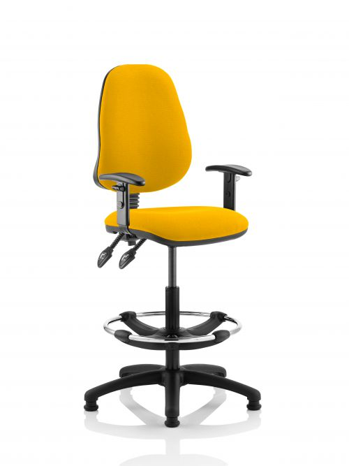 Eclipse II Lever Task Operator Chair Yellow Fully Bespoke Colour With Height Adjustable Arms With Hi Rise Draughtsman Kit