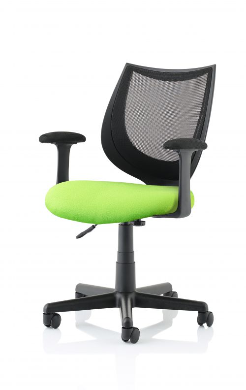 Camden Black Mesh Chair in Myrrh Green