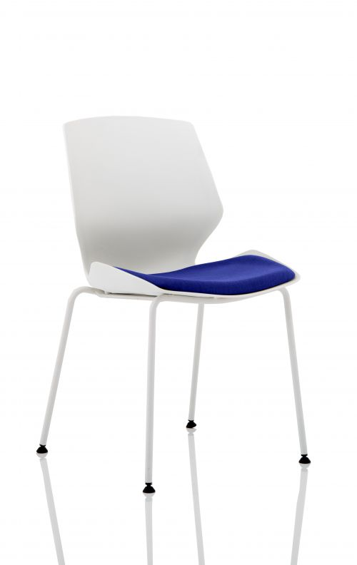 Florence White Frame Visitor Chair in Stevia Blue KCUP1532