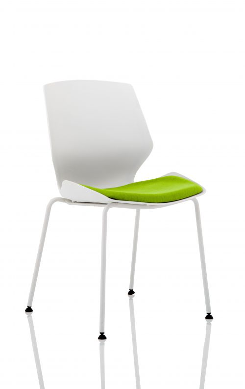 Florence White Frame Visitor Chair in Myrrh Green KCUP1533