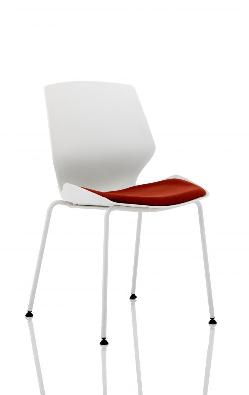 Florence White Frame Visitor Chair in Ginseng Chilli KCUP1534