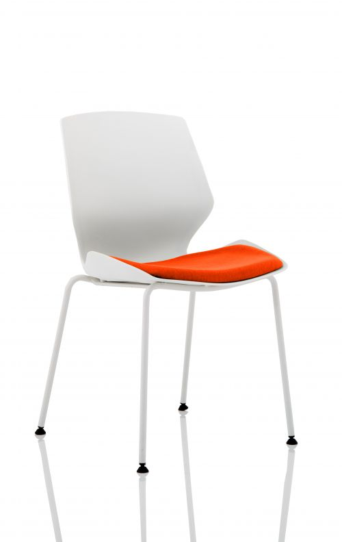 Florence White Frame Visitor Chair in Tabasco Red KCUP1535