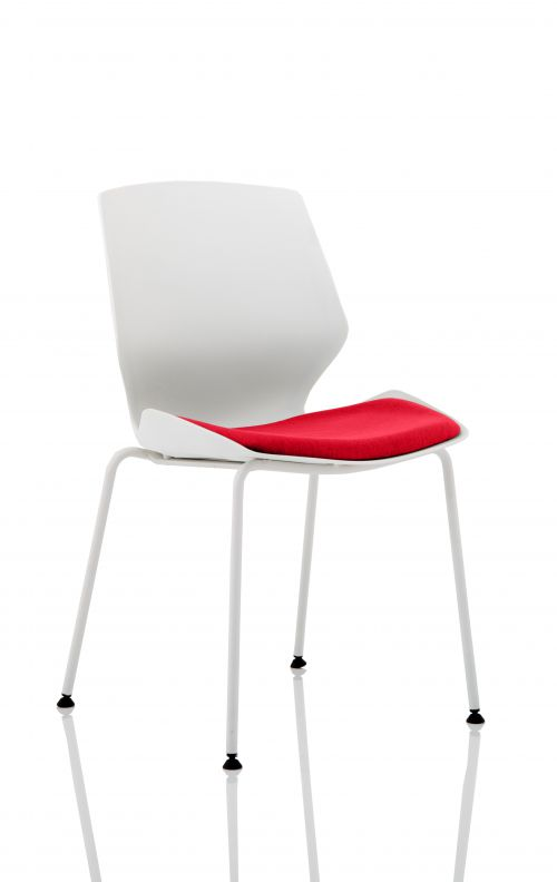 Florence White Frame Visitor Chair in Bergamot Cherry KCUP1536