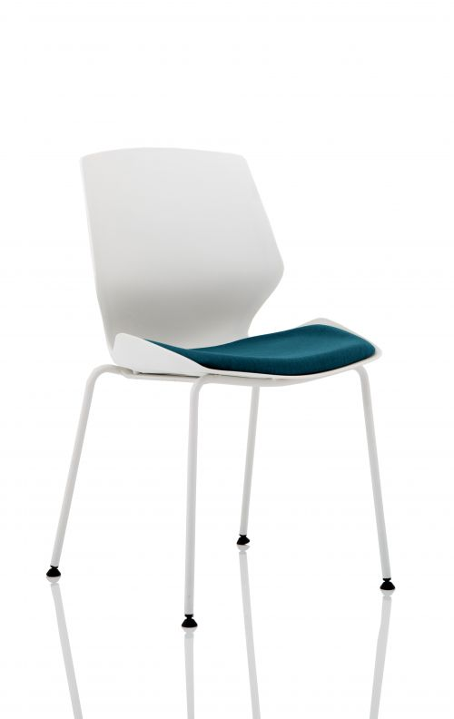Florence White Frame Visitor Chair in Maringa Teal KCUP1538