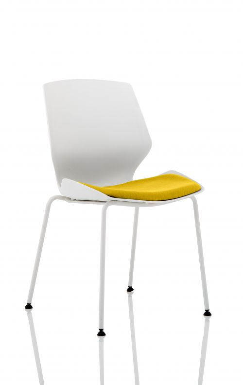 Florence White Frame Visitor Chair in Senna Yellow KCUP1539