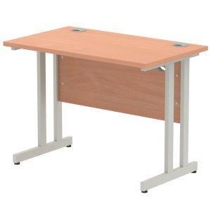 Impulse 1000 x 800mm Straight Desk Beech Top Silver Cantilever Leg MI000282
