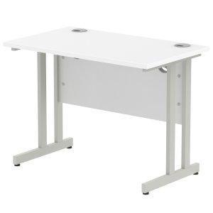 Impulse 1000 x 800mm Straight Desk White Top Silver Cantilever Leg MI000304