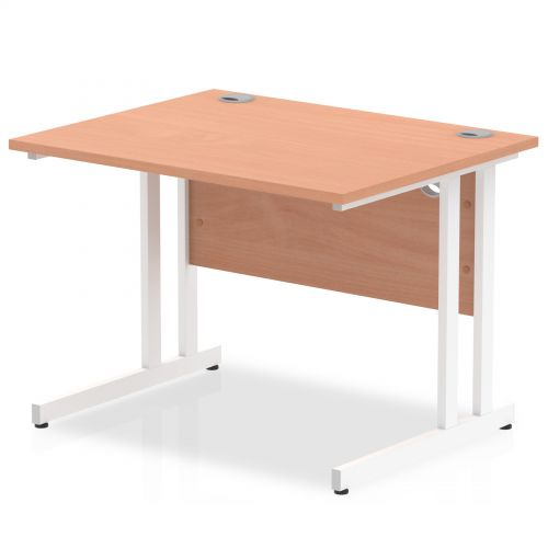 Impulse 1000/800 Rectangle White Cantilever Leg Desk Beech