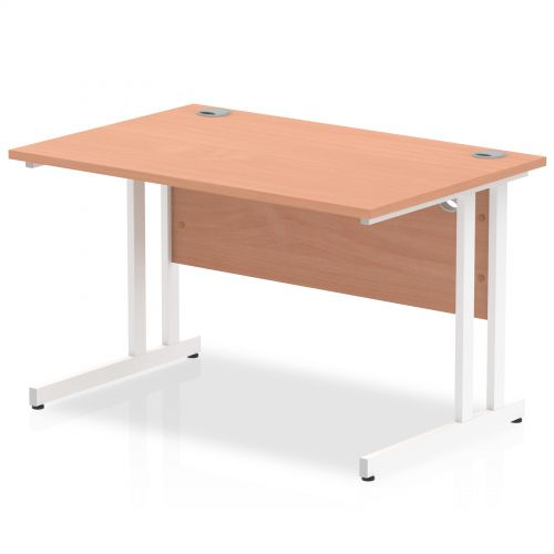 Impulse 1200/800 Rectangle White Cantilever Leg Desk Beech