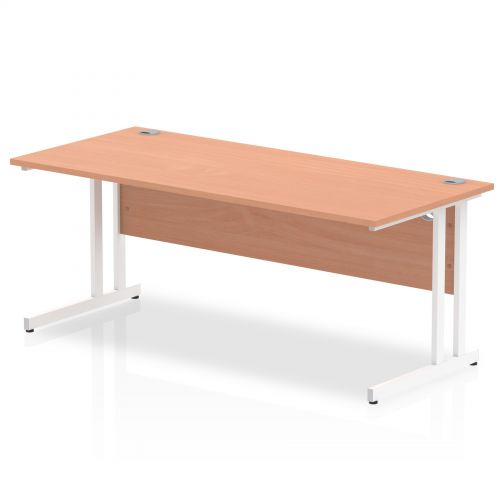 Impulse 1800/800 Rectangle White Cantilever Leg Desk Beech