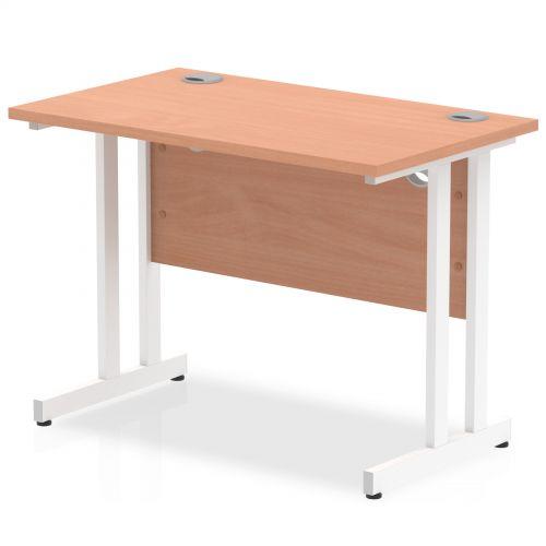 Impulse 1000 x 600mm Straight Desk Beech Top White Cantilever Leg MI001683