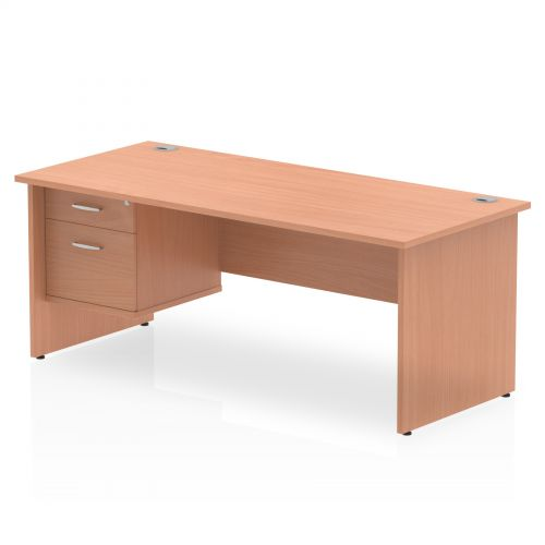 Impulse 1800 Rectangle Panel End Leg Desk Beech 1 x 2 Drawer Fixed Ped