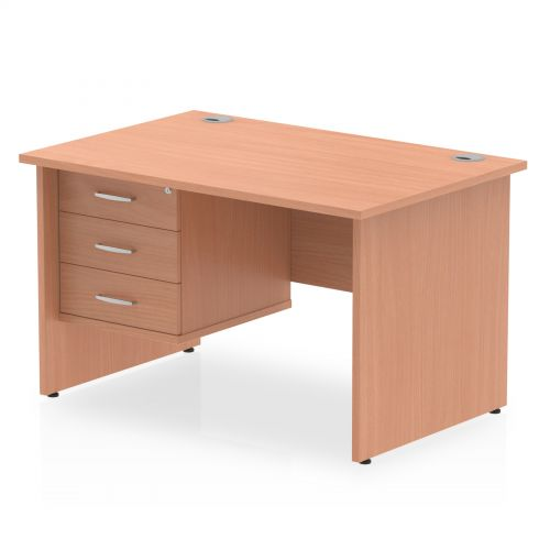 Impulse 1200 Rectangle Panel End Leg Desk Beech 1 x 3 Drawer Fixed Ped