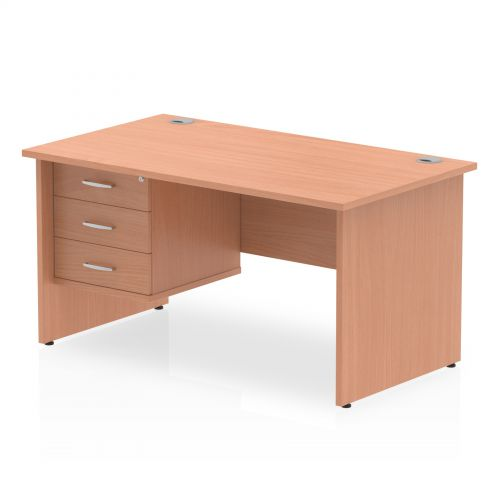 Impulse 1400 Rectangle Panel End Leg Desk Beech 1 x 3 Drawer Fixed Ped
