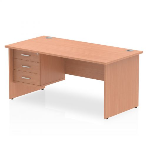 Impulse 1600 Rectangle Panel End Leg Desk Beech 1 x 3 Drawer Fixed Ped