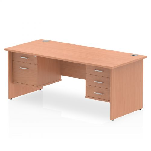 Impulse 1800 Rectangle Panel End Leg Desk Beech 1 x 2 Drawer 1 x 3 Drawer Fixed Ped