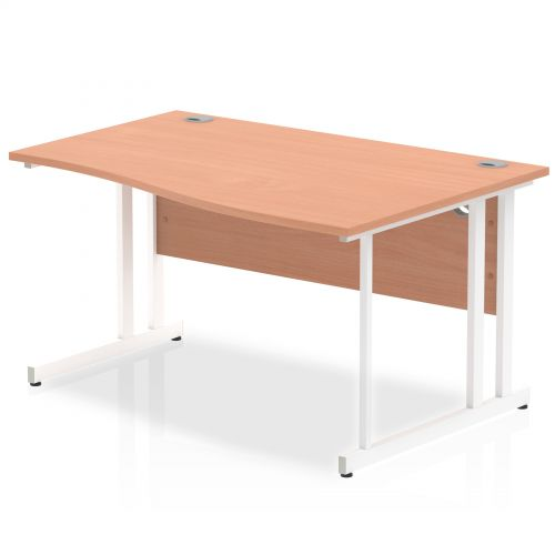 Impulse 1400 Right Hand White Cantilever Leg Wave Desk Beech