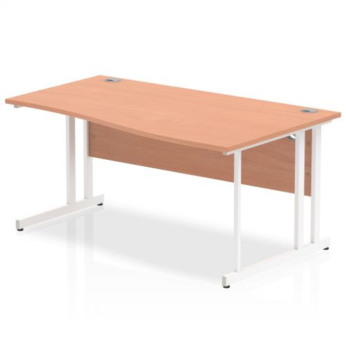 Impulse 1600 Right Hand White Cantilever Leg Wave Desk Beech