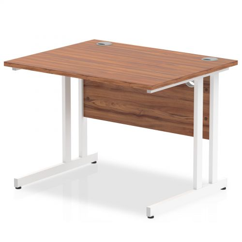 Impulse 1000/800 Rectangle White Cantilever Leg Desk Walnut