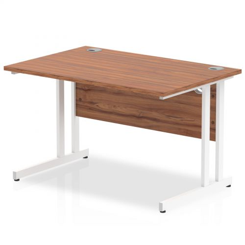 Impulse 1200/800 Rectangle White Cantilever Leg Desk Walnut