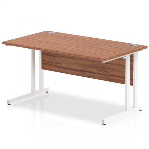 Impulse 1400/800 Rectangle White Cantilever Leg Desk Walnut