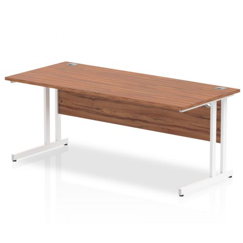 Impulse 1800/800 Rectangle White Cantilever Leg Desk Walnut