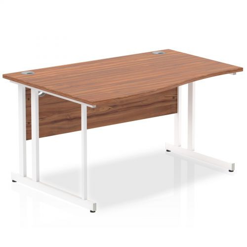 Impulse 1400 Left Hand White Cantilever Leg Wave Desk Walnut
