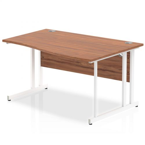 Impulse 1400 Right Hand White Cantilever Leg Wave Desk Walnut