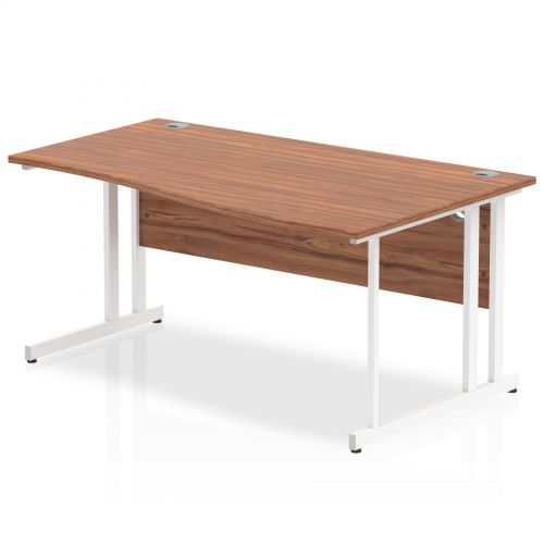 Impulse 1600 Right Hand White Cantilever Leg Wave Desk Walnut