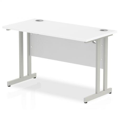 Impulse 1200 x 600mm Straight Desk White Top Silver Cantilever Leg MI002196