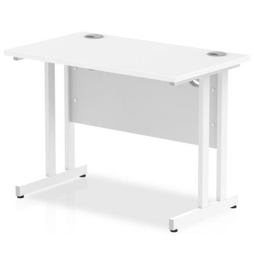 Impulse 1000 x 600mm Straight Desk White Top White Cantilever Leg MI002200