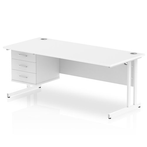 Impulse 1800 Rectangle White Cant Leg Desk WHITE 1 x 3 Drawer Fixed Ped
