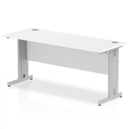 Impulse 1600/600 Rectangle Silver Cable Managed Leg Desk White