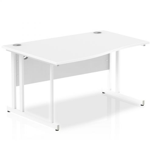 Impulse 1400 Left Hand White Cantilever Leg Wave Desk White