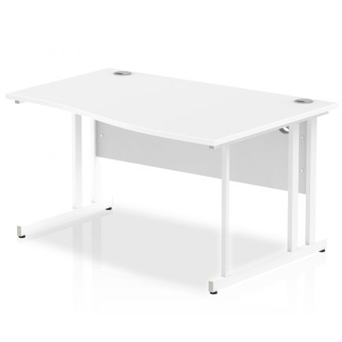 Impulse 1400 Right Hand White Cantilever Leg Wave Desk White