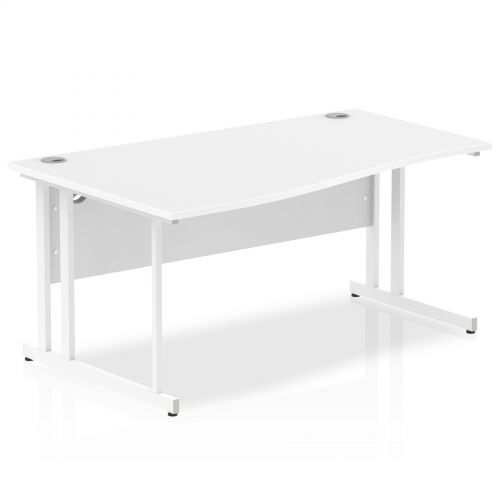 Impulse 1600 Left Hand White Cantilever Leg Wave Desk White