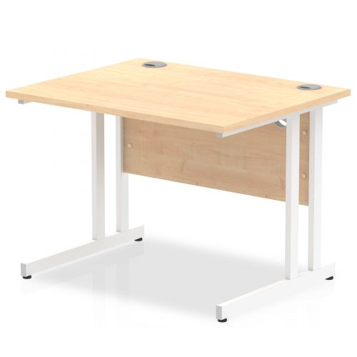 Impulse 1000/800 Rectangle White Cantilever Leg Desk Maple