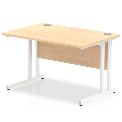 Impulse 1200/800 Rectangle White Cantilever Leg Desk Maple
