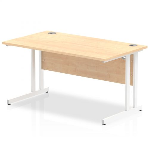 Impulse 1400/800 Rectangle White Cantilever Leg Desk Maple