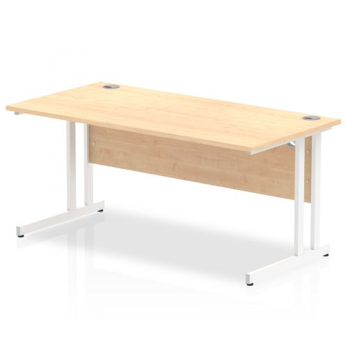 Impulse 1600/800 Rectangle White Cantilever Leg Desk Maple