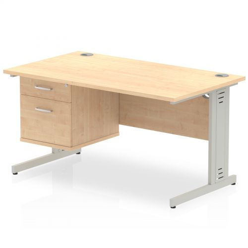Impulse 1400 Rectangle Silver Cable Managed Leg Desk MAPLE 1 x 2 Drawer Fixed Ped