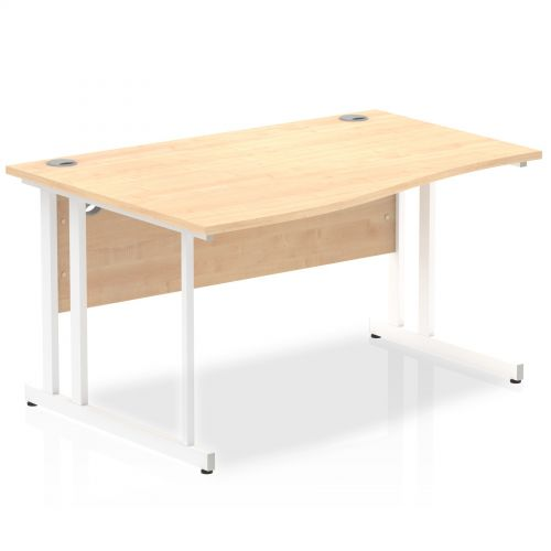 Impulse 1400 Left Hand White Cantilever Leg Wave Desk Maple