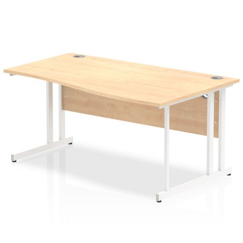 Impulse 1600 Right Hand White Cantilever Leg Wave Desk Maple