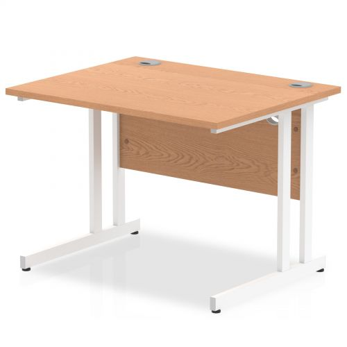 Impulse 1000/800 Rectangle White Cantilever Leg Desk Oak