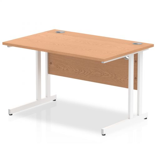 Impulse 1200/800 Rectangle White Cantilever Leg Desk Oak