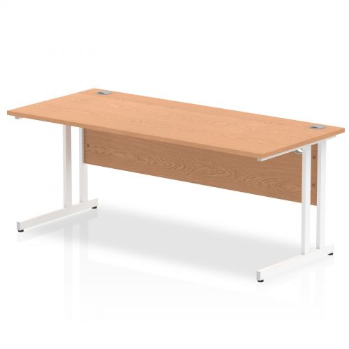 Impulse 1800/800 Rectangle White Cantilever Leg Desk Oak