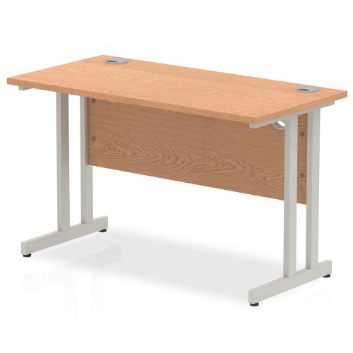 Impulse 1200 x 600mm Straight Desk Oak Top Silver Cantilever Leg MI002648