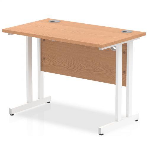 Impulse 1000 x 600mm Straight Desk Oak Top White Cantilever Leg MI002652