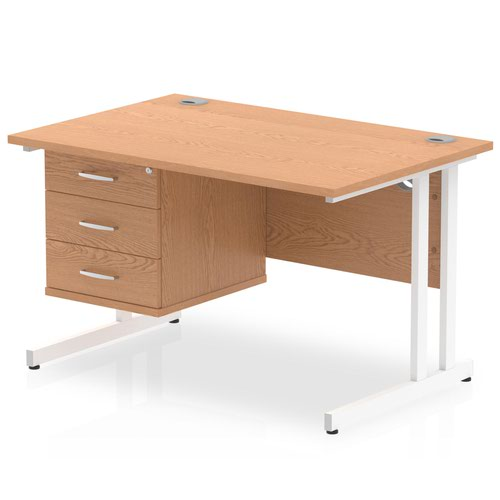 Impulse 1200 Rectangle White Cant Leg Desk OAK 1 x 3 Drawer Fixed Ped