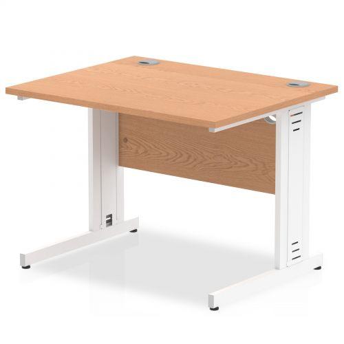 Impulse 1000/800 Rectangle White Cable Managed Leg Desk Oak